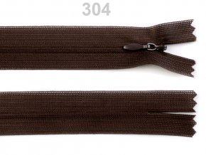 Spirálový zip skrytý délka 55 cm b. 304 Chocolate Brown