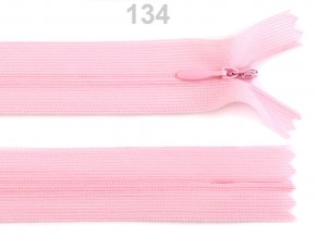 Spirálový zip skrytý šíře 3mm délka 50 cm b. 134 Gossamer pink  , podklad dederon