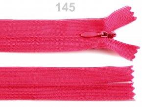 Spirálový zip skrytý šíře 3mm délka 35 cm b.145 Fandango Pink  , podklad dederon