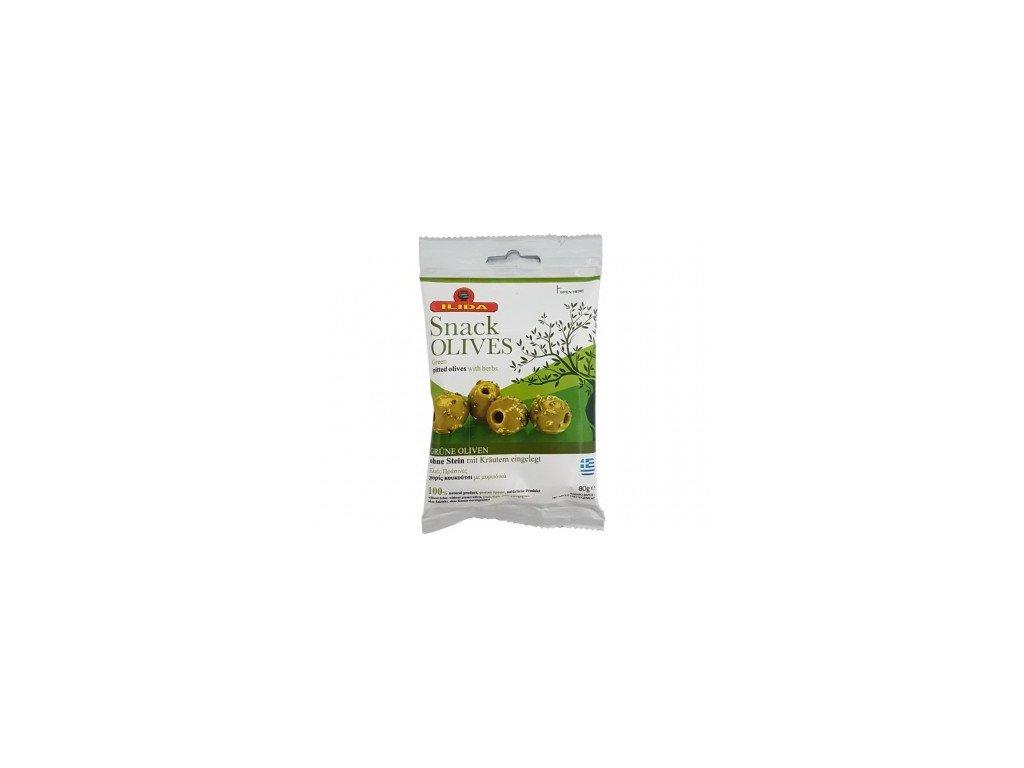 Zelené marinované olivy bez pecky Ilida