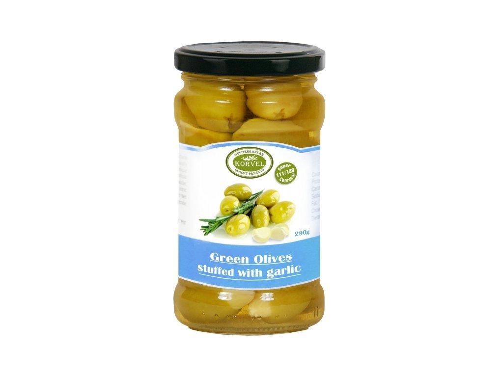 Zelené olivy plněné česnekem ve skle Korvel