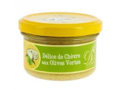 Pochoutka s kozím sýrem a zelenými olivami