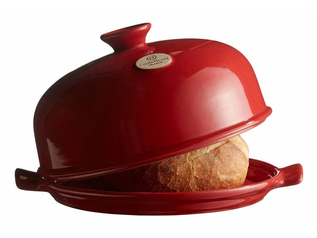 Forma na pečení chleba červená Burgundy Emile Henry  + pekařský nožík + kniha receptů