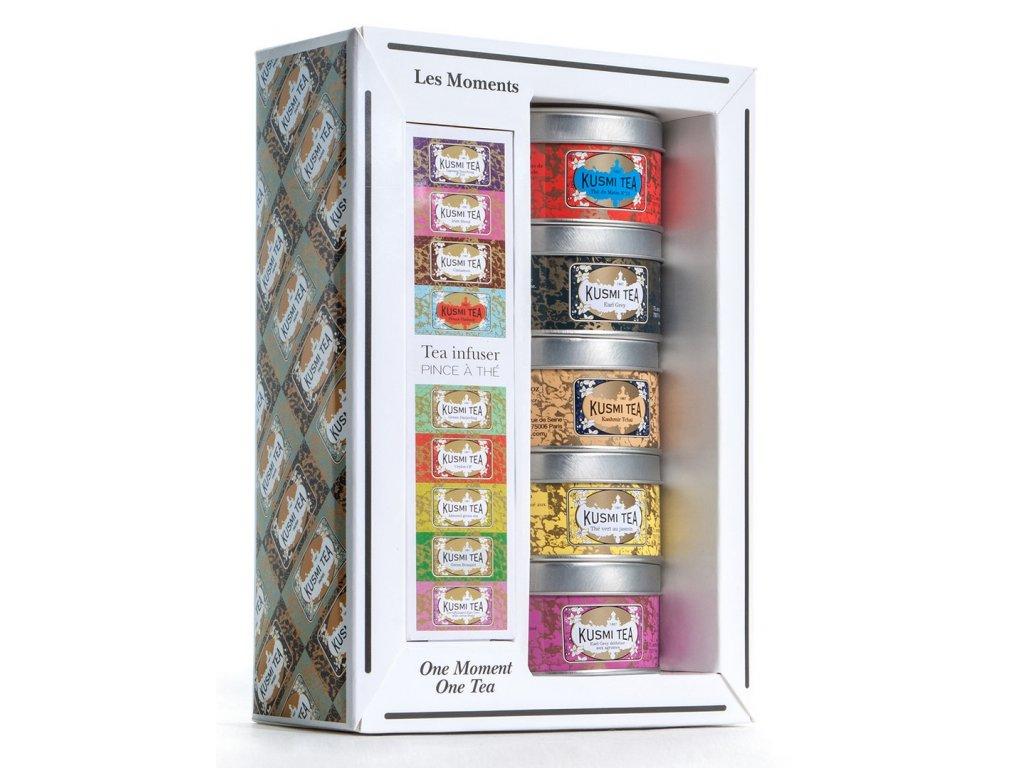 Dárkové balení sypaných čajů Moments Teas Gift Pack Kusmi Tea 5 x 25 g  + ZDARMA sítko na čaj