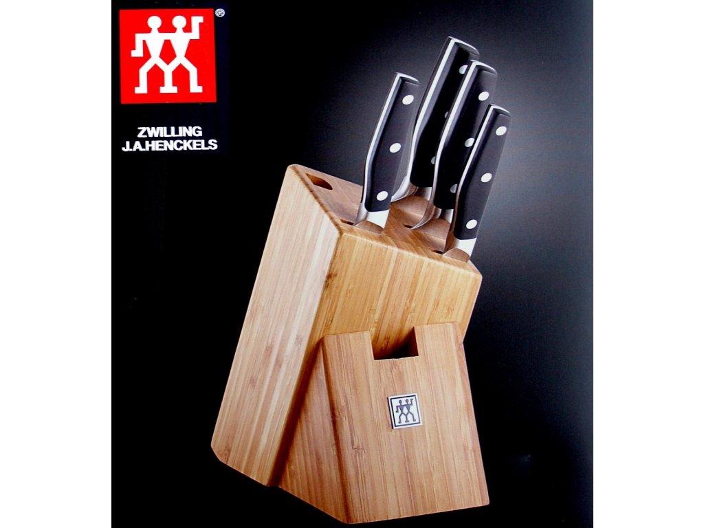 Blok na nože asymetrický na 5 nožů a ocílku Zwilling bambusový