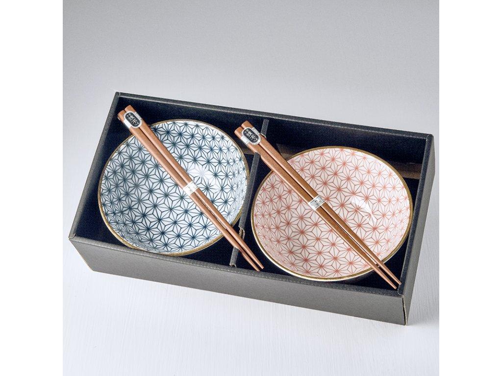 Set misek Asanoha Design s hůlkami 500 ml 2 ks MIJ
