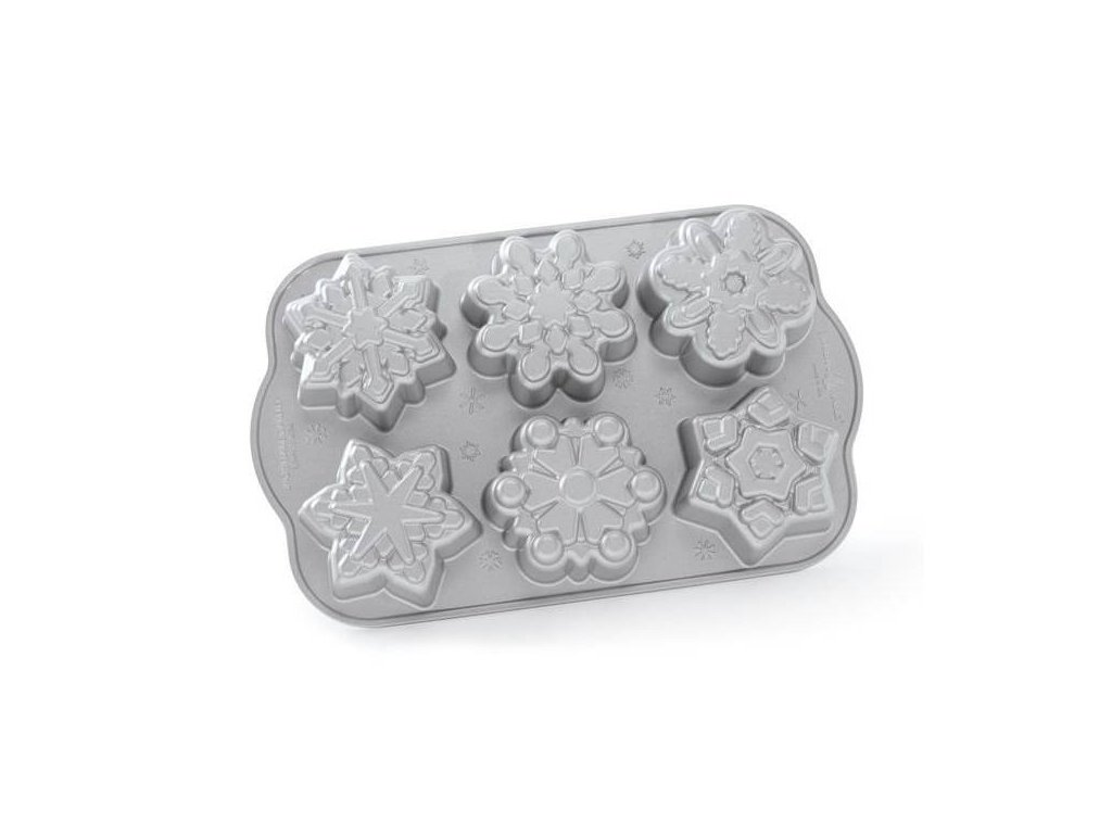 Forma na 6 sněhových vloček Frozen Snowflake Bundt® stříbrná Nordic Ware