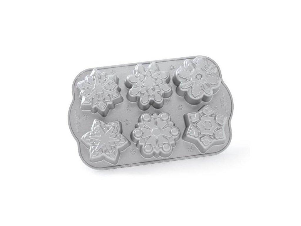 Forma na 6 sněhových vloček Frozen Snowflake Bundt® stříbrná