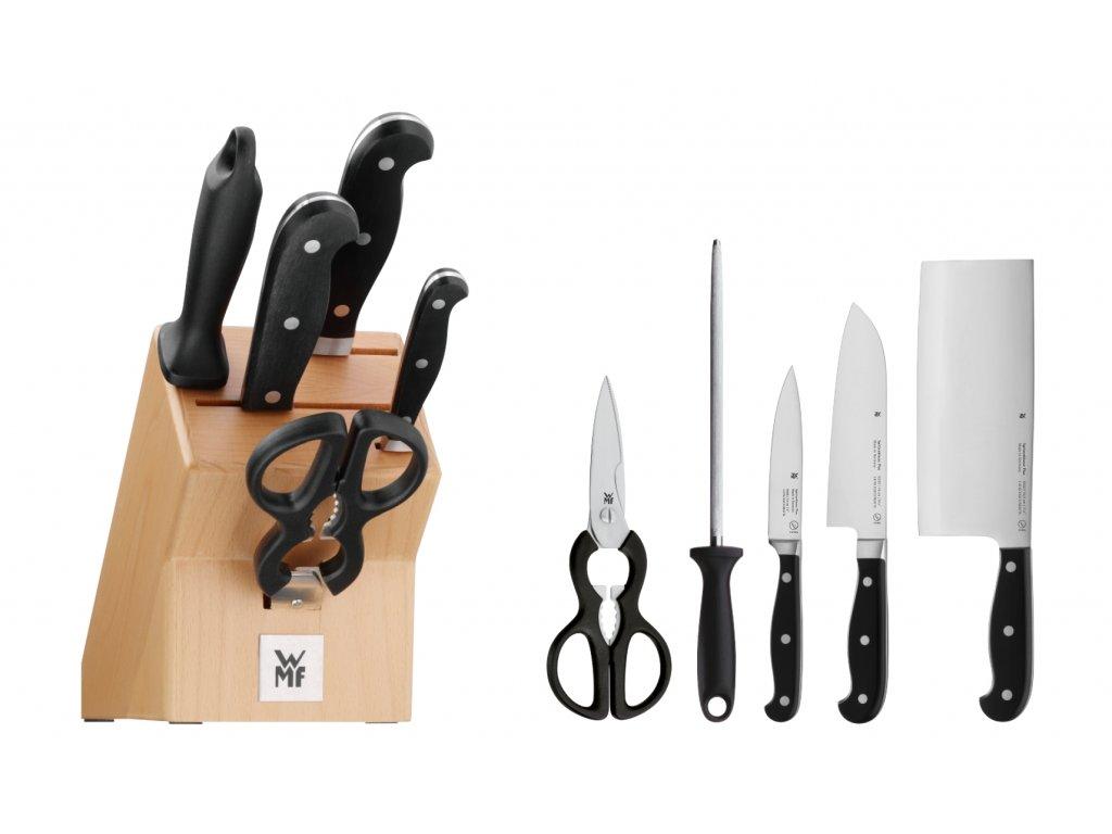 Sada nožů s blokem, ocílkou a nůžkami 6dílná Spitzenklasse Plus WMF