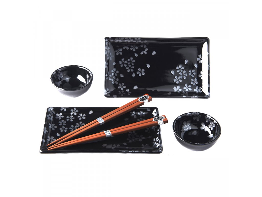 Sushi set Sakura černý 6 ks 1