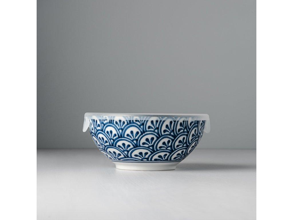 Miska 3 Petal Crest Indigo Ikat s plastovým víkem 16 cm 700 ml