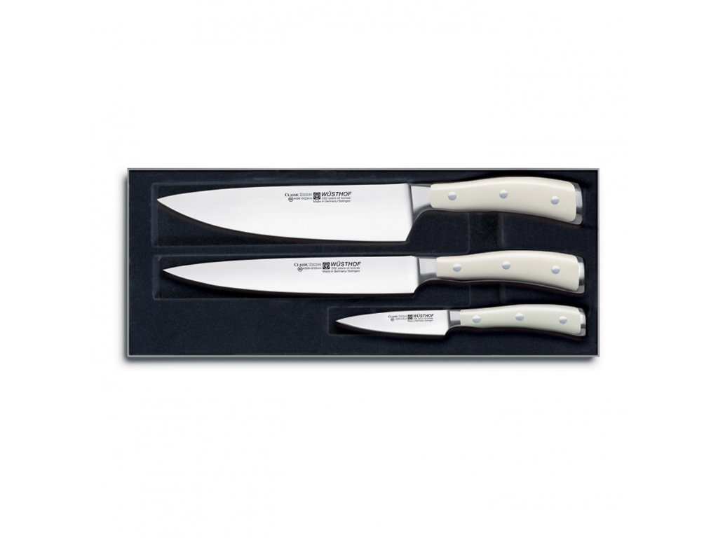 Sada nožů 3dílná Classic Ikon crème