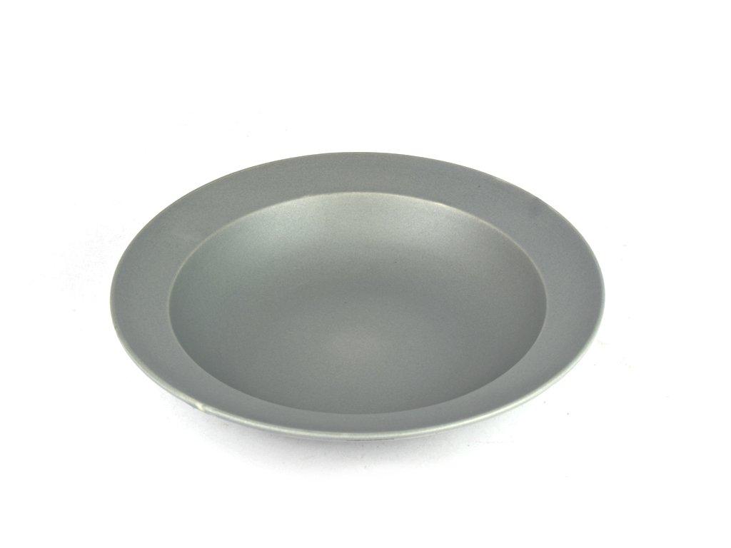 Hluboký talíř s širokým okrajem 21,5 cm šedý