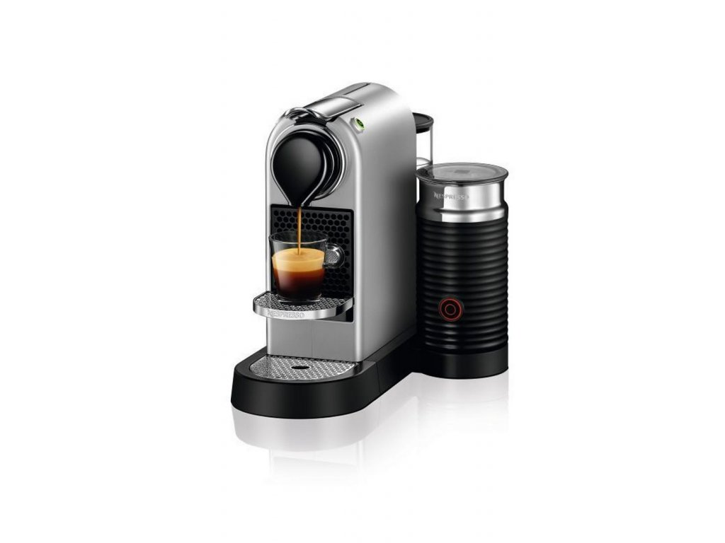 Kávovar na kapsle KRUPS Nespresso Citiz & Milk stříbrný  + 14 nespresso kapslí ZDARMA
