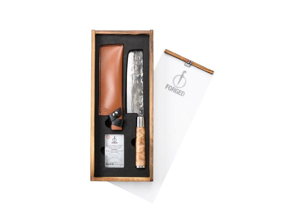 Japonský nůž na zeleninu Forged VG10 17,5 cm s koženým pouzdrem