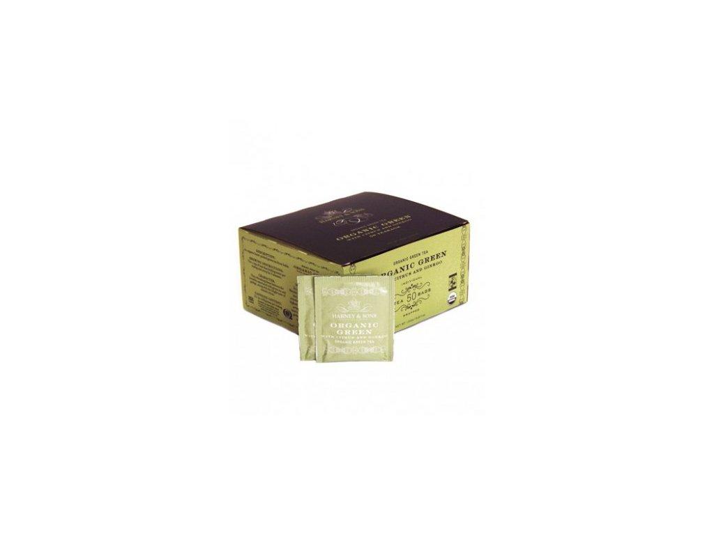 BIO zelený čaj s citrónovou trávou a gingkem Harney & Sons 50 sáčků
