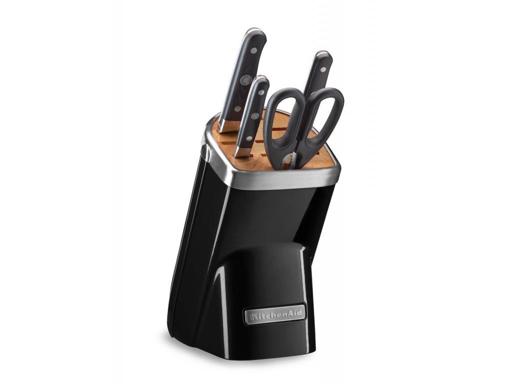 Sada nožů s blokem a nůžkami 5dílná černá Professional