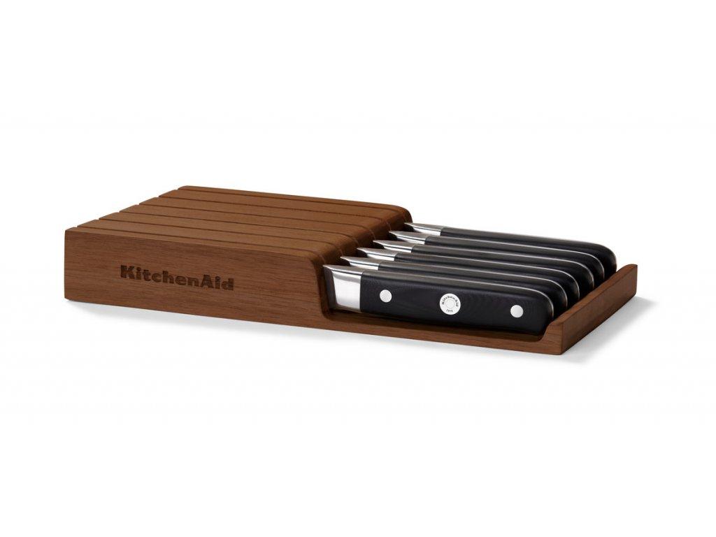 Steakové nože v dřevěném úložném boxu KitchenAid 6 ks