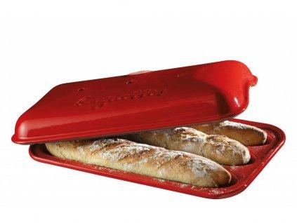 Forma na pečení 3 ks pařížských baget Burgundy červená Emile Henry