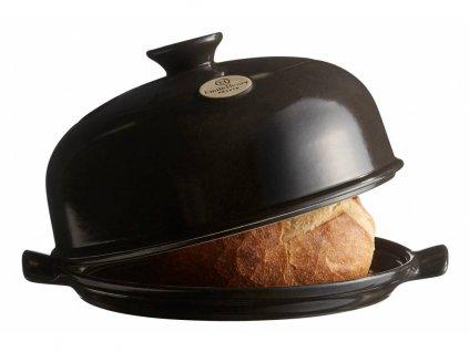 Forma na pečení chleba Emile Henry pepřová 28,5 cm  + pekařský nožík + kniha receptů