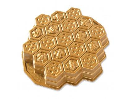 Forma ve tvaru včelí plástve Honeycomb Pull-Apart Bundt® zlatá