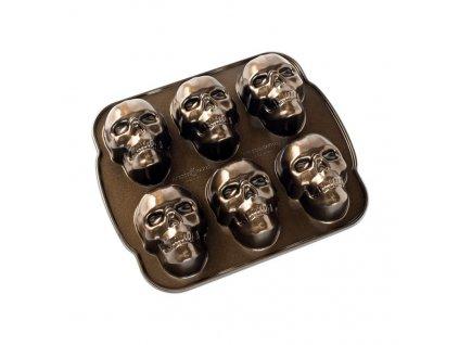 Forma na 6 piškotů lebky Haunted Skull Bundt® bronzová Nordic Ware