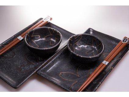 Sushi set s květinovým motivem černý 6 ks MIJ