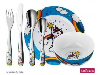 Dětský jídelní set Unicorn WMF modrá 6 ks