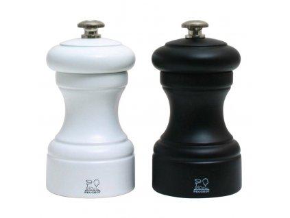 Dárkový set mlýnků na pepř a sůl Bistro černo/bílý, bukové dřevo 10 cm