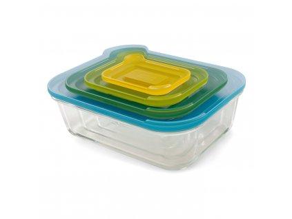 Kompaktní sada skleněných nádob s víčky Nest™ Glass Storage
