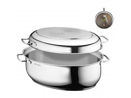 Akční oválný pekáč s multifunkční nerezovou poklicí a teploměrem  + ZDARMA kuchyňský teploměr