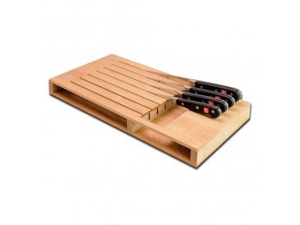 Dřevěný organizér na 7 nožů rovný
