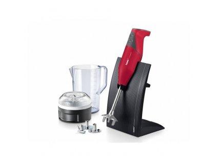 Tyčový mixér Bamix SwissLine M200 červený + Multifunkční krouhač Bamix SliceSy