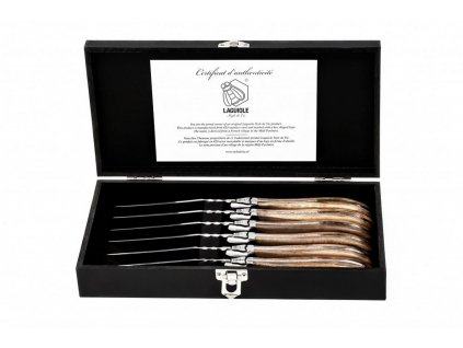 Sada steakových nožů Laguiole Luxury 6 ks olive