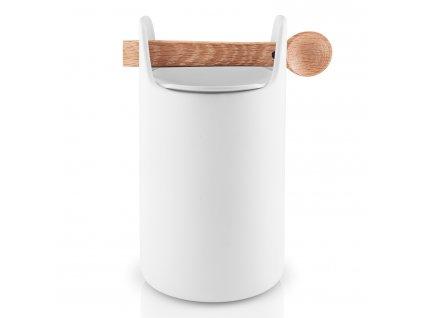 Dóza na potraviny s dřevěnou lžičkou vysoká bílá Eva Solo
