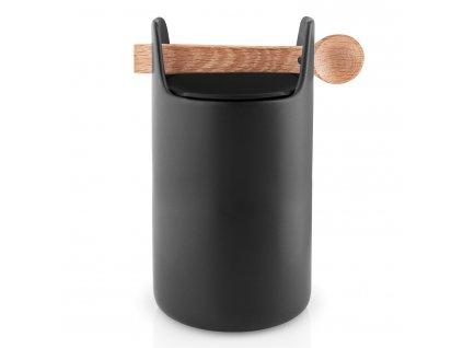 Dóza na potraviny s dřevěnou lžičkou vysoká černá