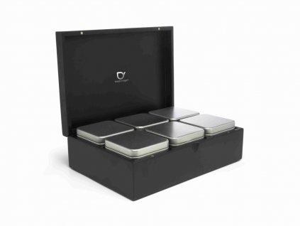Krabička na sypaný čaj + 6 dóz Bredemeijer černá