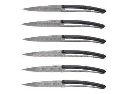 Sada steakových nožů 6dílná PaperStone®, titanium Art Deco deejo