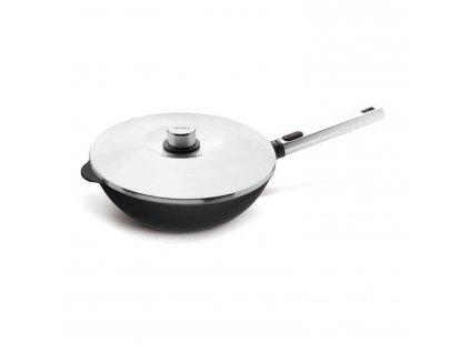 Wok pánev s poklicí Diamond PRO XR Logic Woll s odnímatelnou rukojetí 28 cm