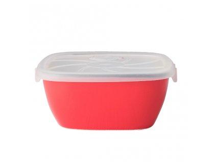 Hranatá nádoba s víkem COLOURBLOCK červená