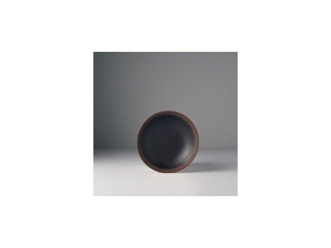 Malý talíř 15 x 3 cm černo-hnědý