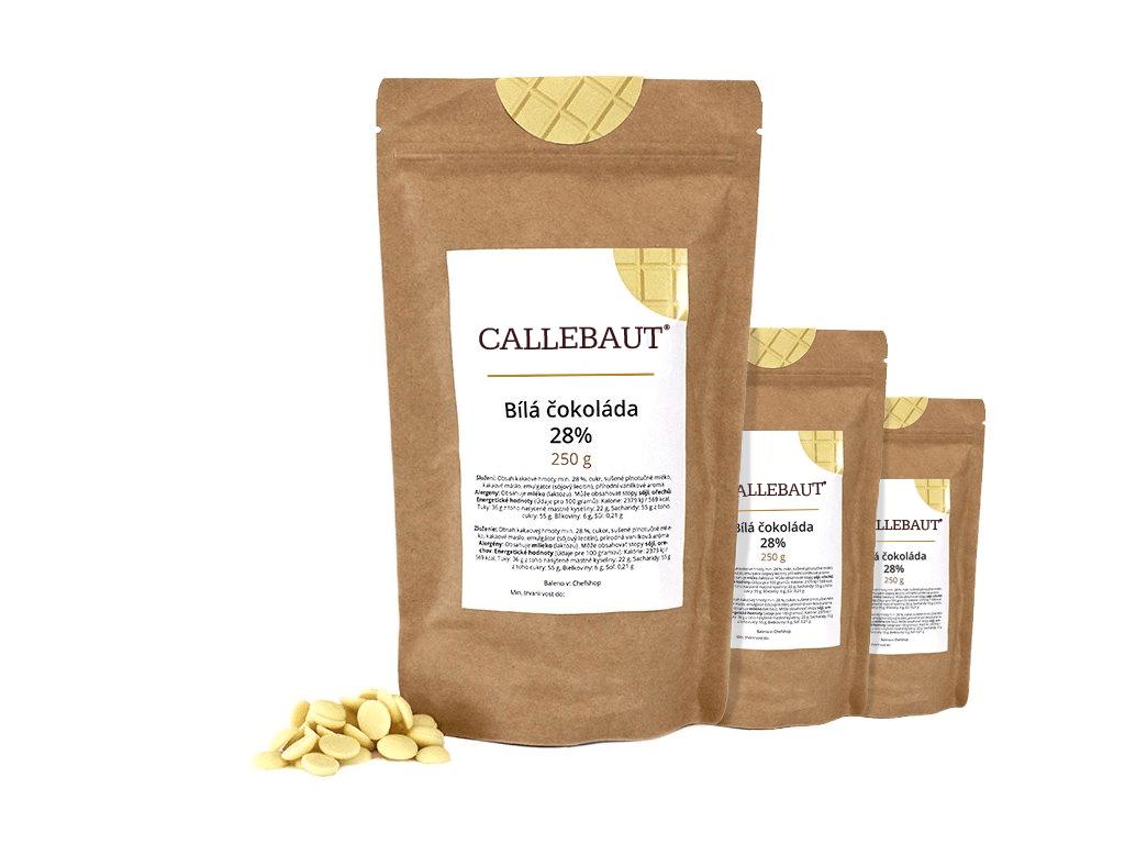 Bílá čokoláda Callebaut 28% 750 g (3 x 250 g)