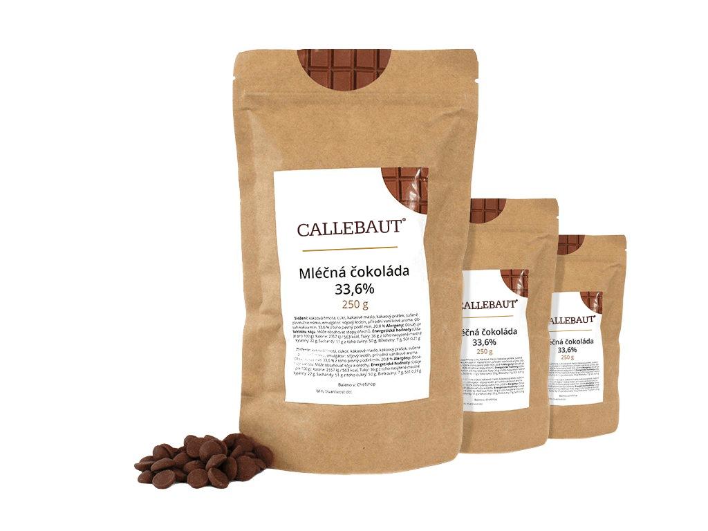 Mléčná čokoláda Callebaut 33,6% 750 g (3 x 250 g)