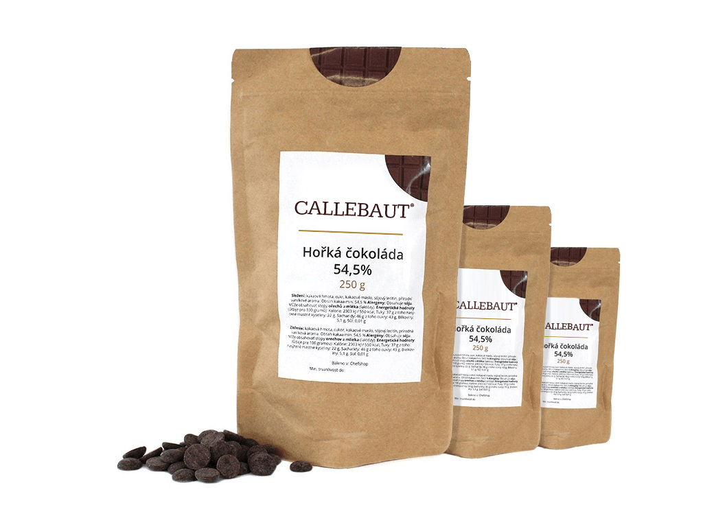 Hořká čokoláda Callebaut 54,5% 750 g (3 x 250 g)