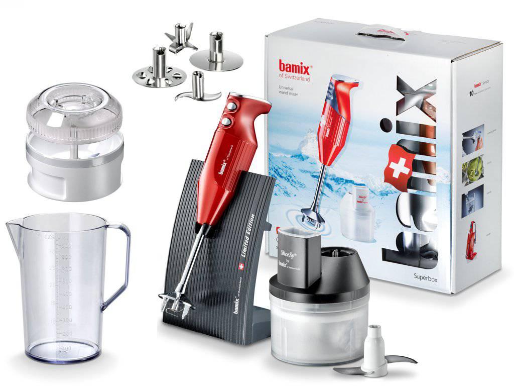 Bamix Tyčový mixér Swissline - SuperBox, červená metalíza, 200 W Bamix