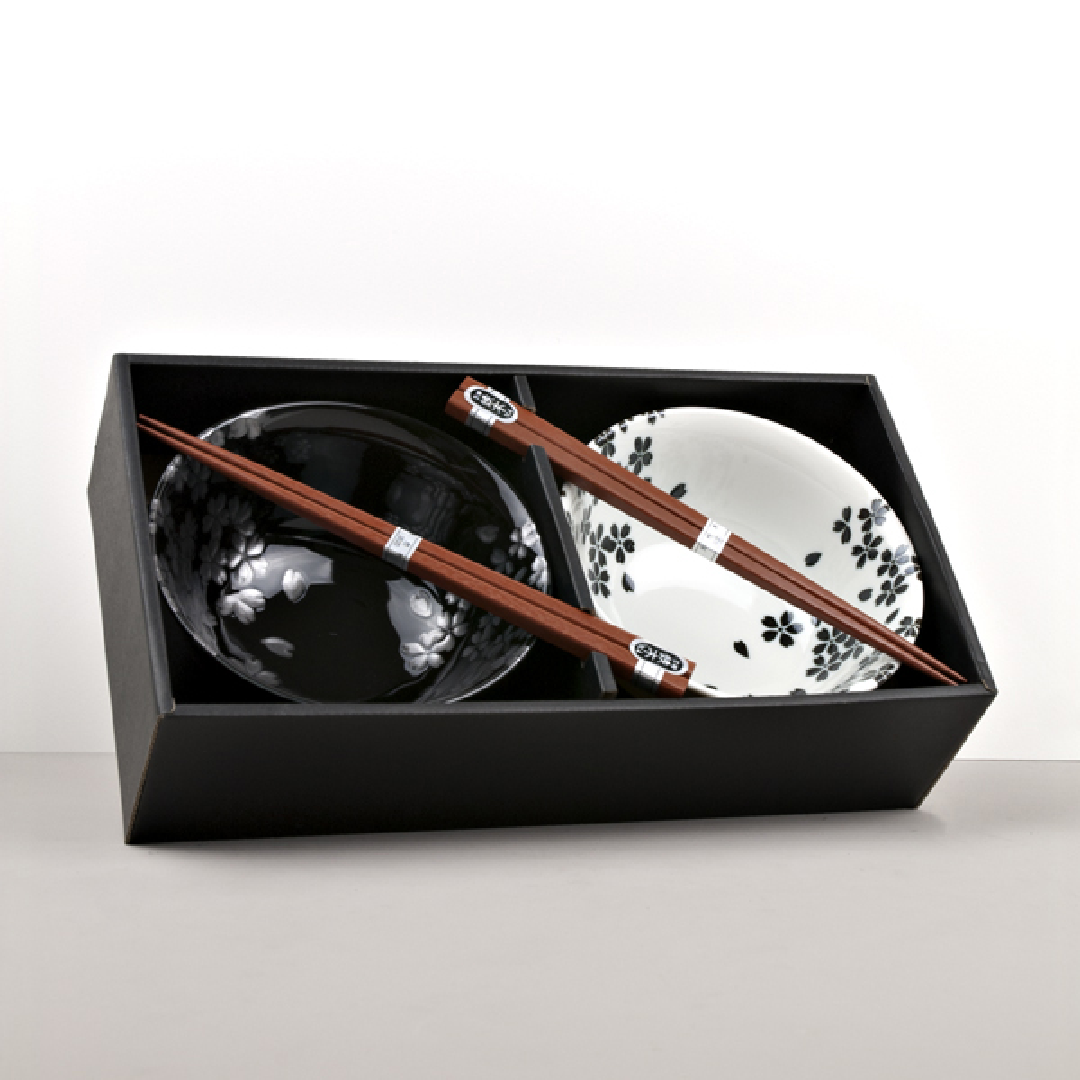 MIJ Silver Sakura set misek s hůlkami