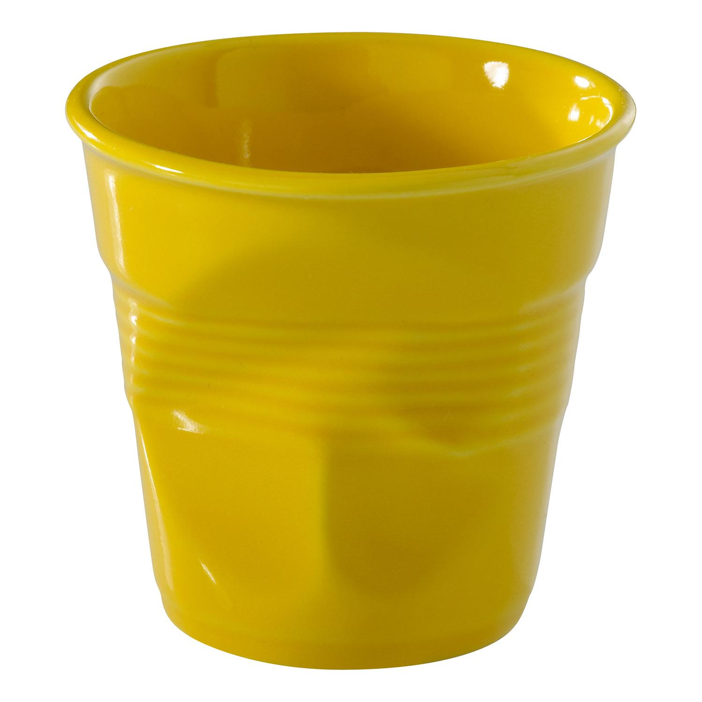 Kelímek na cappuccino Froissés žlutý Seychely 18 cl