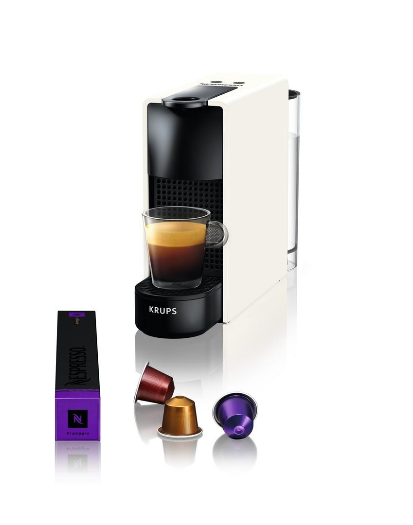 Kávovar na kapsle KRUPS Essenza Mini bílý + 14 nespresso kapslí ZDARMA