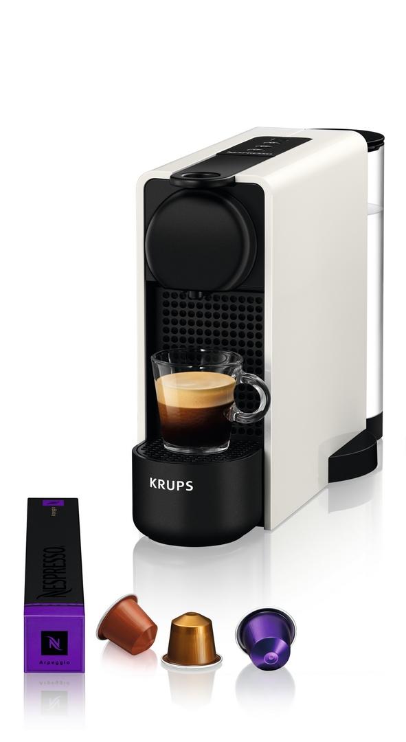 Kávovar na kapsle KRUPS Essenza Plus White & Aeroccino + 14 nespresso kapslí ZDARMA