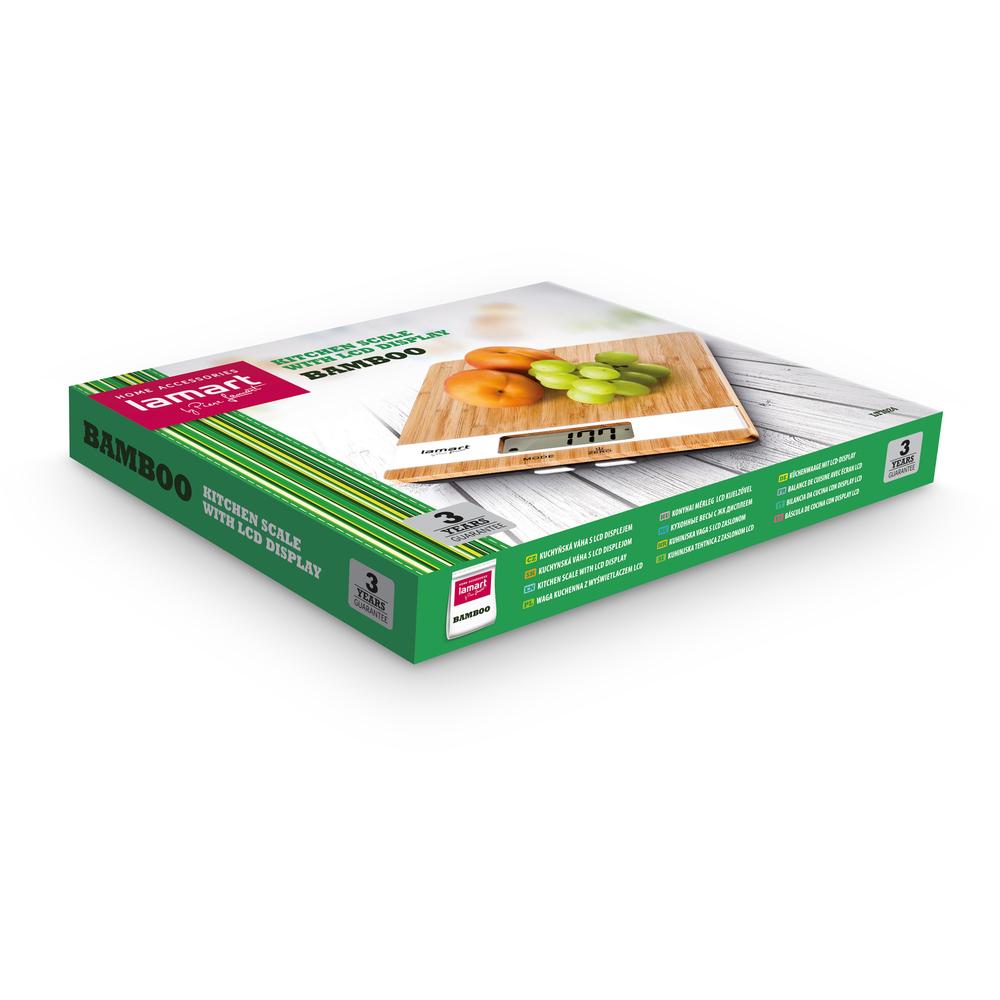 Lamart Digitální váha kuchyňská do 5 kg bamboo LT7024